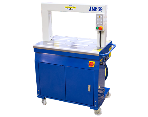 AM659 Efficient Automatic Machine Strapper for Mail Trays, Tubs, Laundry, Linen, Lumber, Corrugated Box, Containers and Pharmaceutical Totes